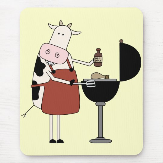 Cow Barbeque Tshirts and Gifts Mouse Mat