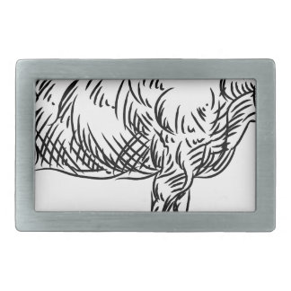 Cow Beef Food Grunge Style Hand Drawn Icon Belt Buckles