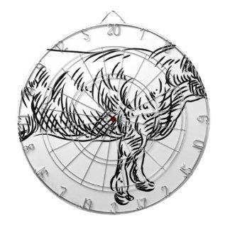 Cow Beef Food Grunge Style Hand Drawn Icon Dartboard