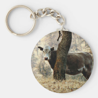 Cow behind Tree Key Chain