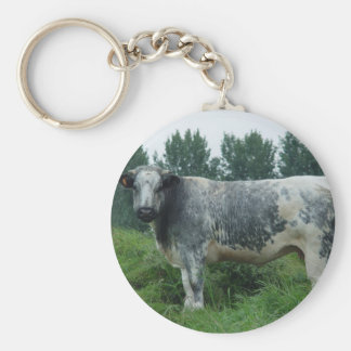Cow Belgian Blue Basic Round Button Key Ring