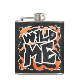 Cow Black and Orange Wild Me Hip Flask