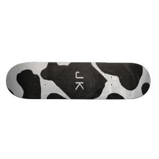 Cow Black and White Print Skate Deck