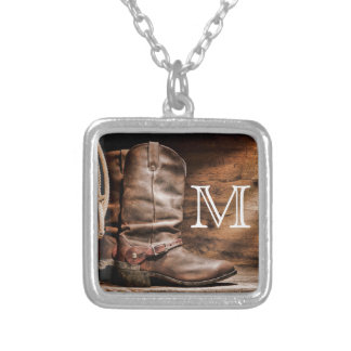 Cow Boy Boots Spur Country Rope Monogram Necklace