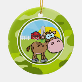 Cow; bright green camo, camouflage Double-Sided ceramic round christmas ornament