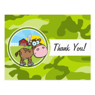 Cow; bright green camo, camouflage postcards