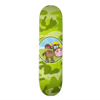 Cow bright green camo camouflage skate board decks