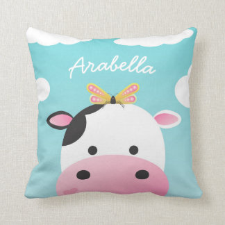 Cow & Butterfly BFFs Custom Name Cushion