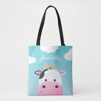 Cow & Butterfly BFFs Custom Name Tote Bag