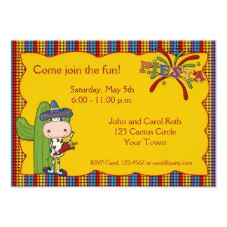 """Cow Cactus Fiesta Invitation 5"""" X 7"""" Invitation Card"""