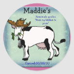 cow canning round stickers
