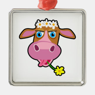 Cow cartoon christmas ornament