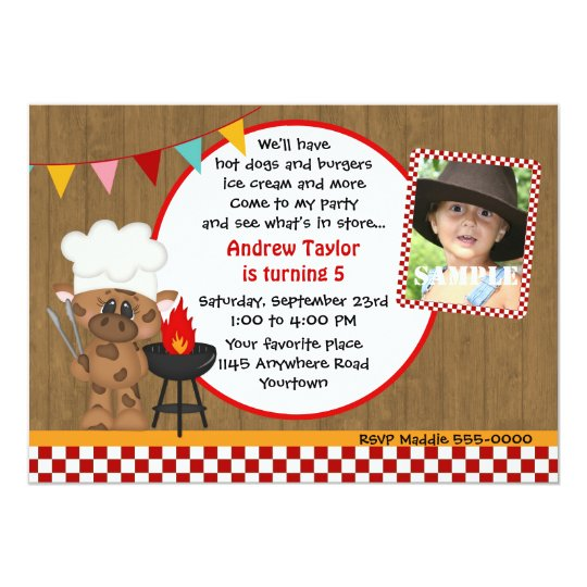 Cow Chef BBQ Photo Birthday Card