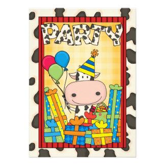 Cow - Child s Birthday Party Custom Invites