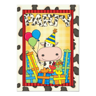 Cow - Child's Birthday Party 13 Cm X 18 Cm Invitation Card