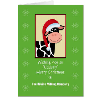 Cow Christmas Business Greeting Card-Customizable Greeting Card