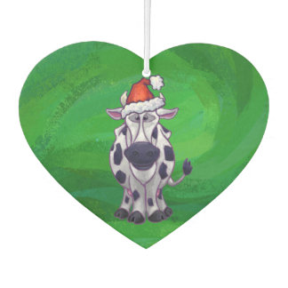 Cow Christmas On Green Car Air Freshener