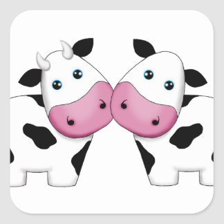 Cow Couple Square Sticker