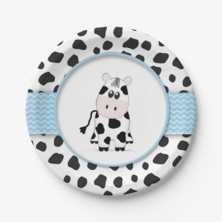 Cow Cowboy Baby Shower Plate 7 Inch Paper Plate