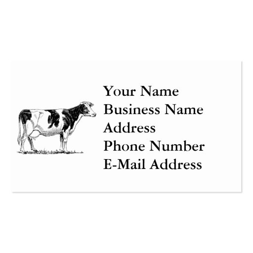 Cow Design Pencil Sketch Business Card Templates