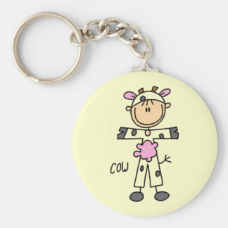 Cow Dress Up Tshirts and Gifts Basic Round Button Key Ring