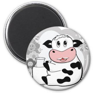 Cow drinking milk 6 cm round magnet
