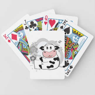 Cow drinking milk bicycle playing cards