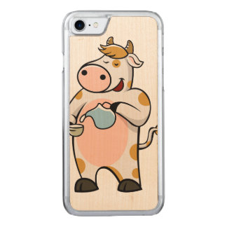 cow drinking milk carved iPhone 7 case
