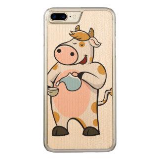 cow drinking milk carved iPhone 8 plus/7 plus case