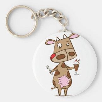 Cow enjoying a milkshake basic round button key ring