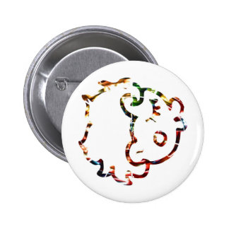 Cow Face   - Sparkling Red 6 Cm Round Badge