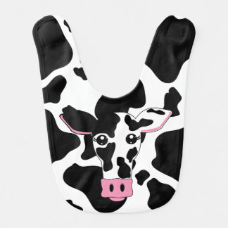 Cow Face with Cow Print Background Baby Bib