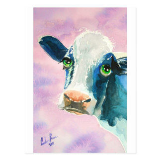 Cow face with green eyes watercolor painting postcard