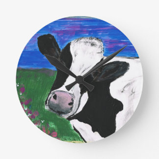 Cow, Farm, Animal, rural, hand painted calf. Round Clock