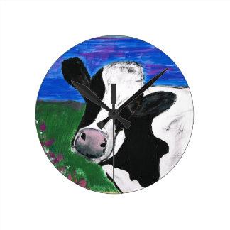 Cow, Farm, Animal, rural, hand painted calf. Wall Clock
