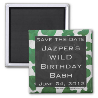 Cow Green and White Monogram Square Magnet