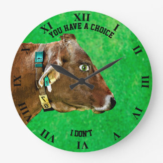Cow Head With Human Eye Anti Meat Vegan Large Clock