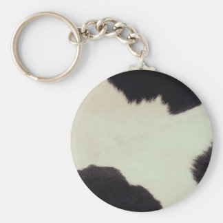 Cow Hide Basic Round Button Key Ring