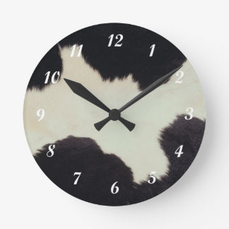 Cow Hide Round Clock