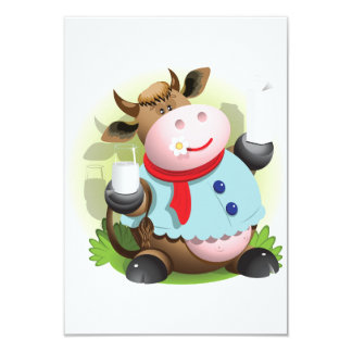 Cow Holding A Glass Of Milk Invitations