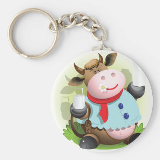 Cow Holding A Glass Of Milk Keychain