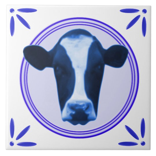 Cow Holland Delftware-Delft-Blue-Look Printed Large Square Tile