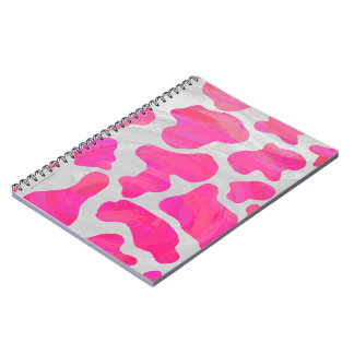 Cow Hot Pink and White Print Notebooks