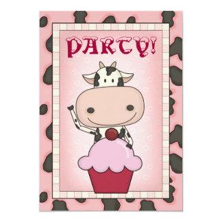 Cow - Ice Cream & Ice Skating Party 13 Cm X 18 Cm Invitation Card