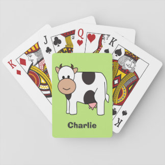 Cow illustration custom name playing cards