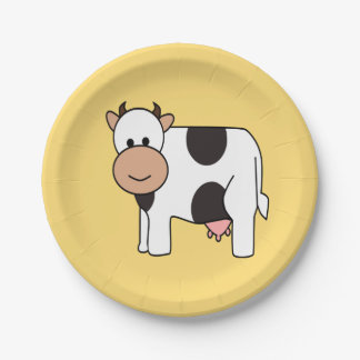 Cow illustration kids' paper plates 7 inch paper plate