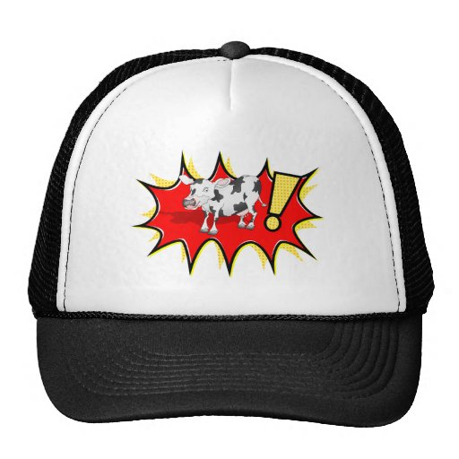 Cow in a KAPOW starburst Mesh Hats