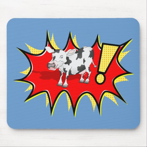 Cow in a KAPOW starburst Mousepads
