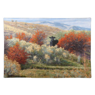 Cow in Fall Setting 1 Sided Cotton Placemat