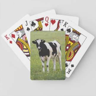 Cow in field of Wildflowers Playing Cards